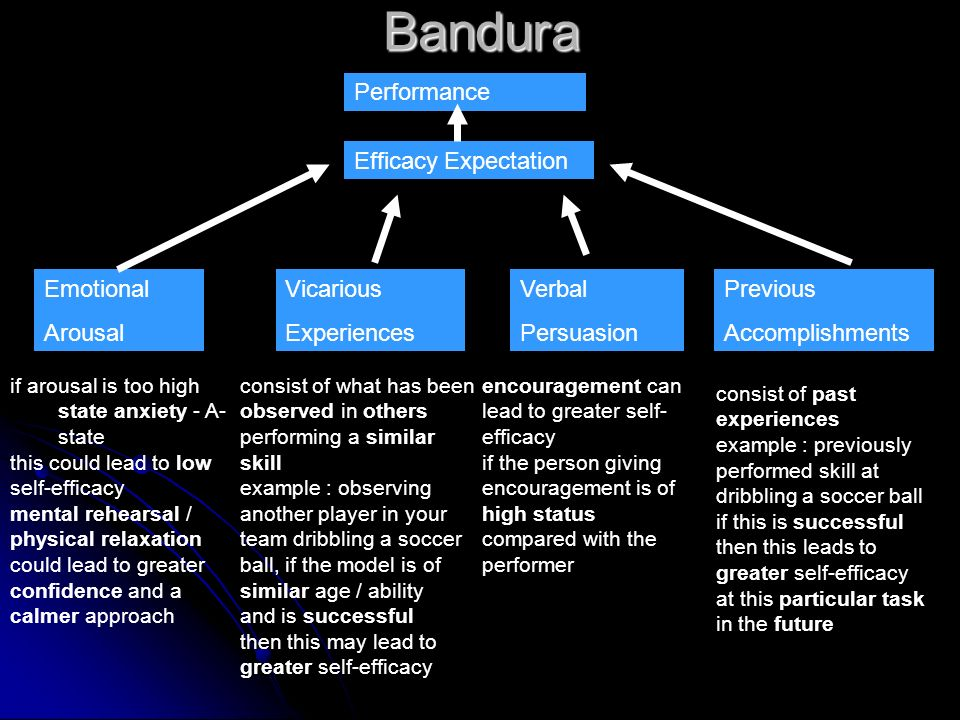 Bandura Performance Efficacy Expectation Emotional Arousal Vicarious