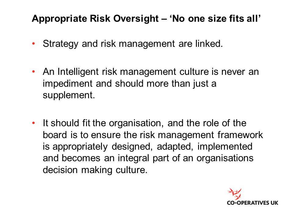 Appropriate Risk Oversight – 'No one size fits all'