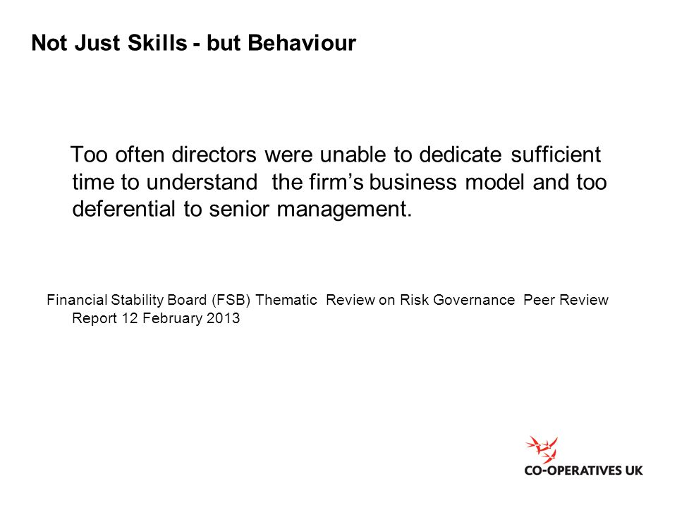 Not Just Skills - but Behaviour