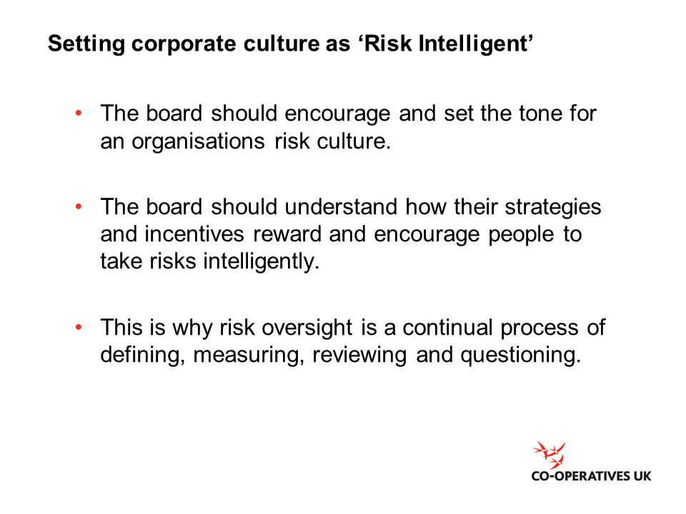 Setting corporate culture as 'Risk Intelligent'