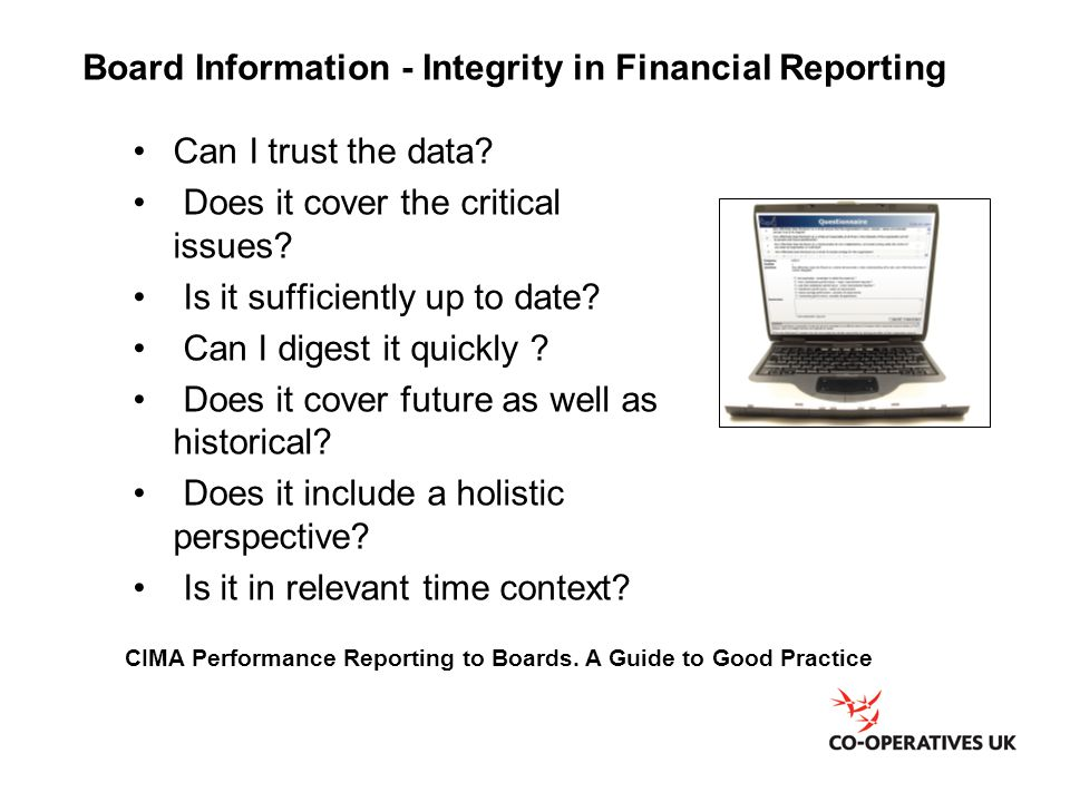 Board Information - Integrity in Financial Reporting