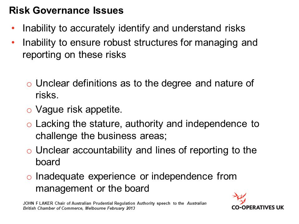 Risk Governance Issues
