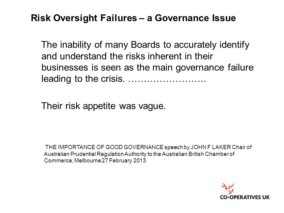 Risk Oversight Failures – a Governance Issue