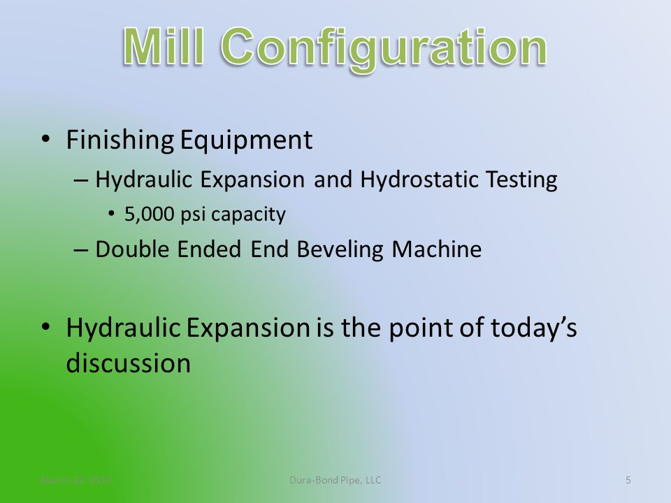 Mill Configuration Finishing Equipment