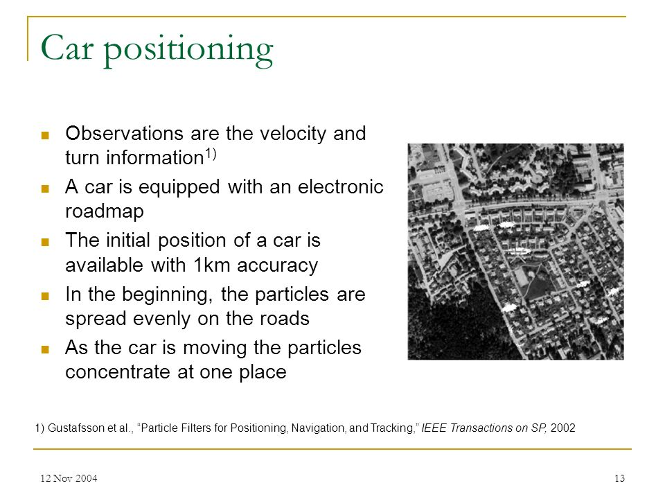 Car positioning Observations are the velocity and turn information1)