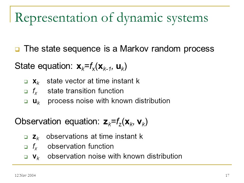 Representation of dynamic systems