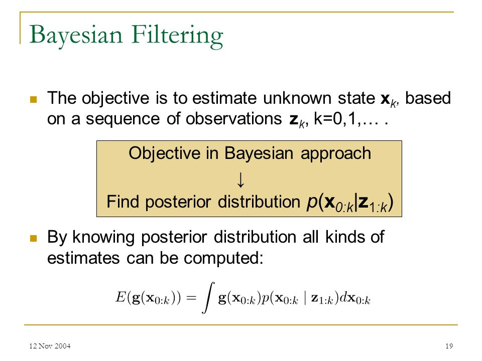 Bayesian Filtering The objective is to estimate unknown state xk, based on a sequence of observations zk, k=0,1,… .