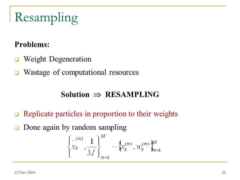 Resampling Problems: Weight Degeneration