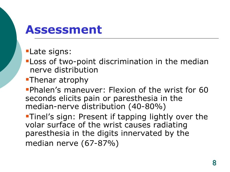 Assessment Late signs: