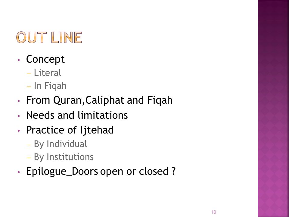 Out Line Concept From Quran,Caliphat and Fiqah Needs and limitations