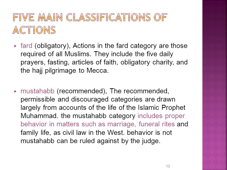 Five main classifications of actions