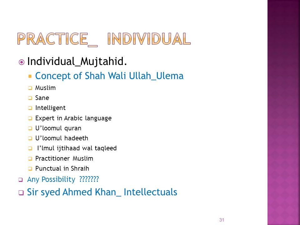 Practice_ Individual Individual_Mujtahid.
