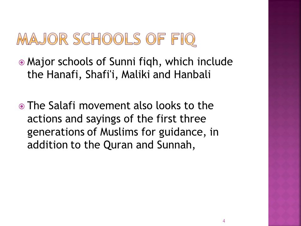 Major schools of fiq Major schools of Sunni fiqh, which include the Hanafi, Shafi i, Maliki and Hanbali.