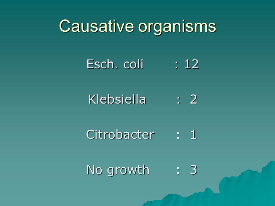 Causative organisms Klebsiella : 2 Citrobacter : 1 No growth : 3