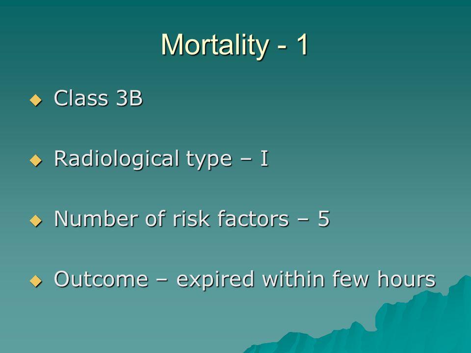 Mortality - 1 Class 3B Radiological type – I