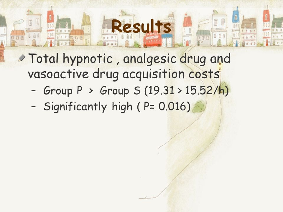 Results Total hypnotic , analgesic drug and vasoactive drug acquisition costs. Group P > Group S (19.31 > 15.52/h)