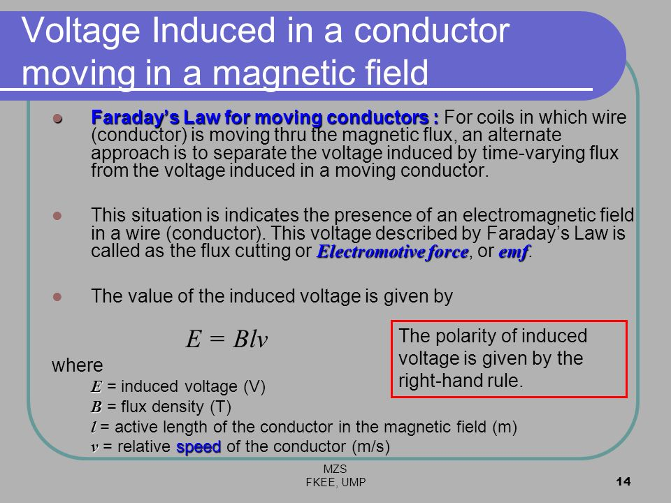 Voltage Induced in a conductor moving in a magnetic field
