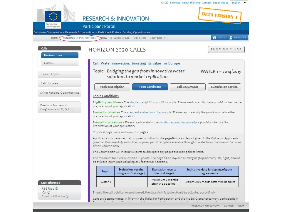 Horizon 2020 calls – Topic details: topic conditions
