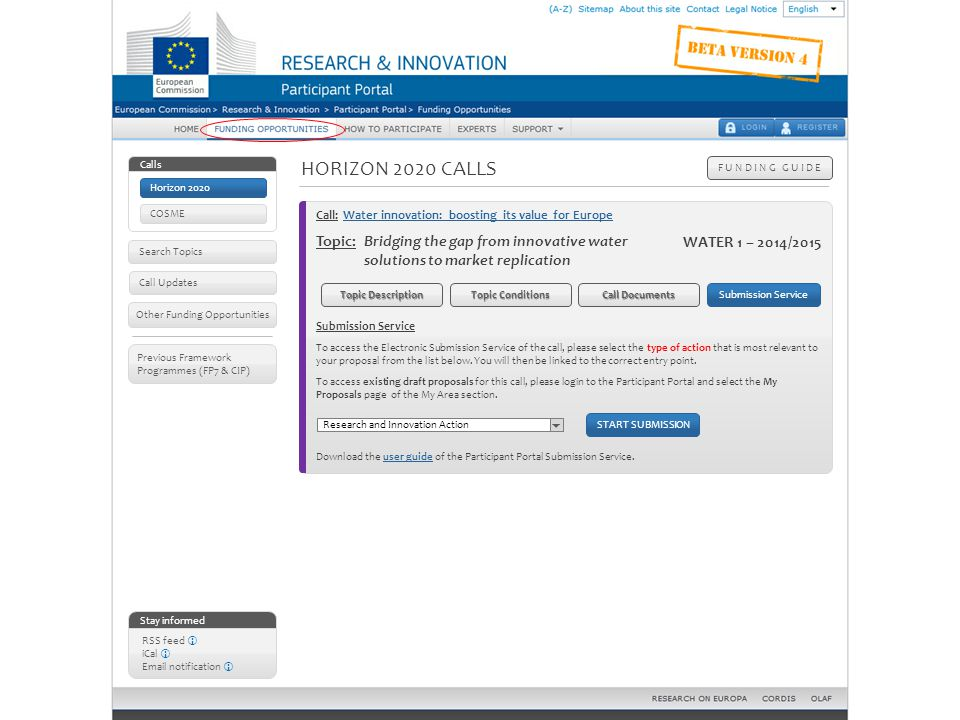 Horizon 2020 calls – Topic details: submission service
