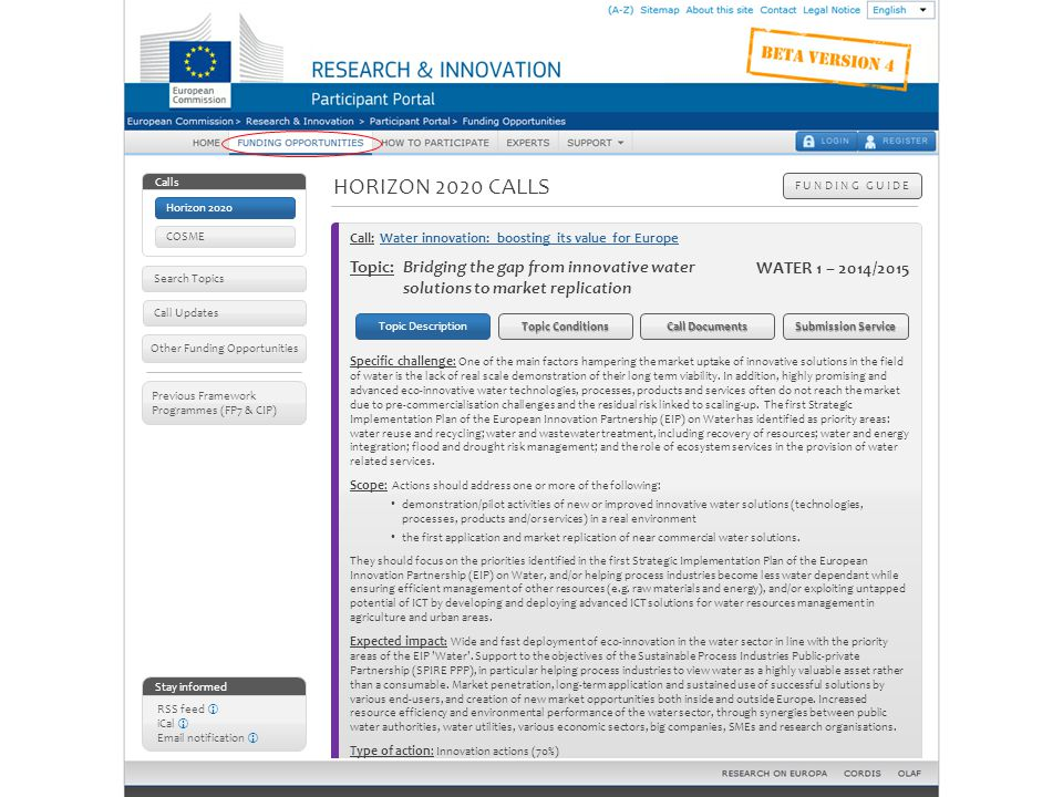 Horizon 2020 calls – Topic details: topic description