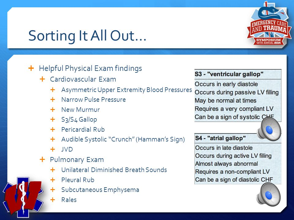 Sorting It All Out… Helpful Physical Exam findings Cardiovascular Exam