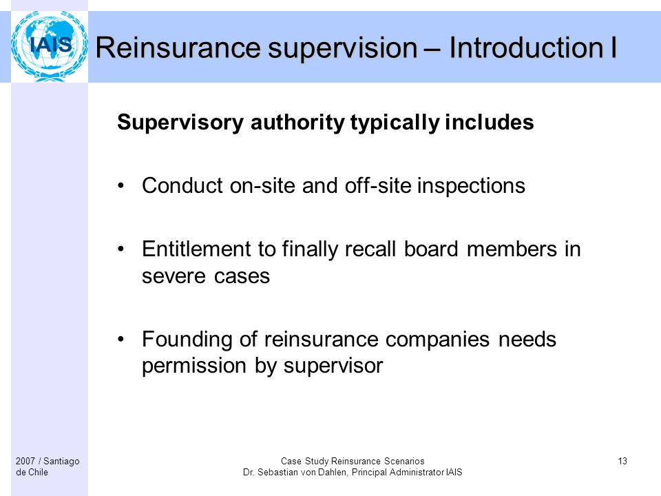 Reinsurance supervision – Introduction I