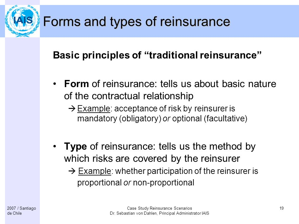 Forms and types of reinsurance