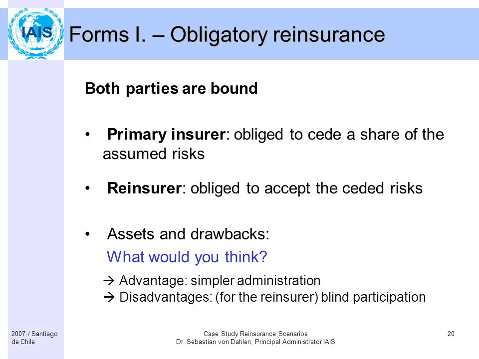 Forms I. – Obligatory reinsurance
