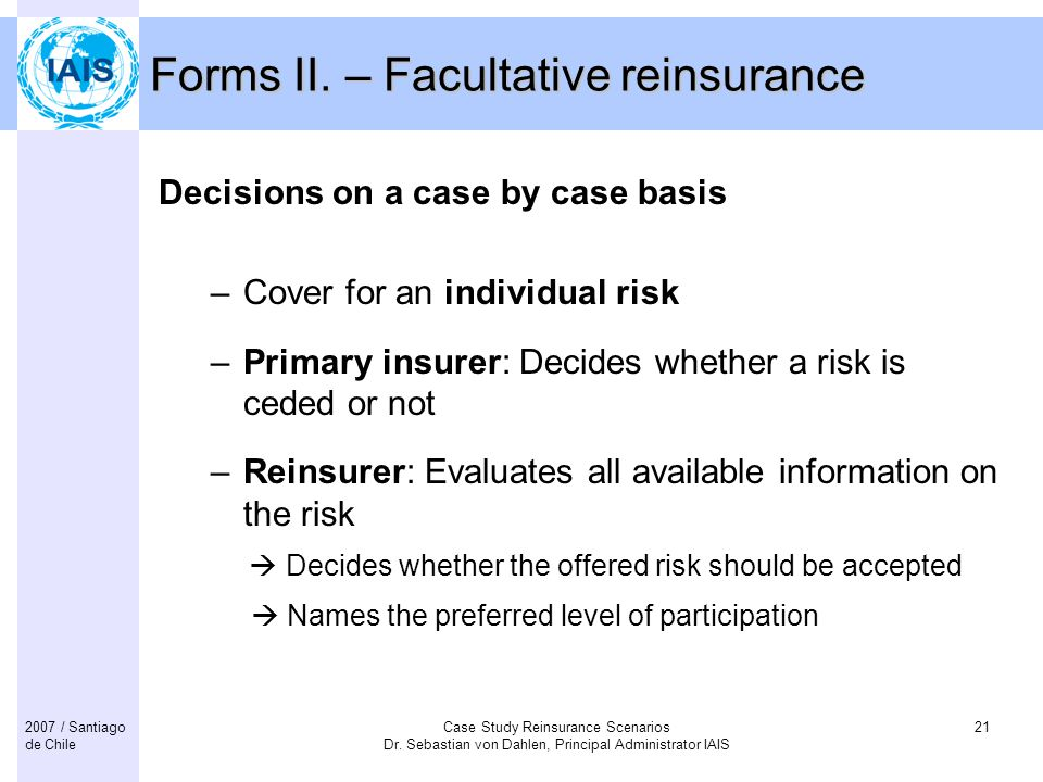 Forms II. – Facultative reinsurance