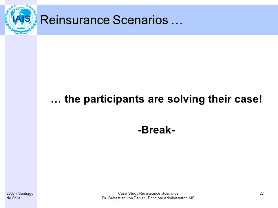 Reinsurance Scenarios …
