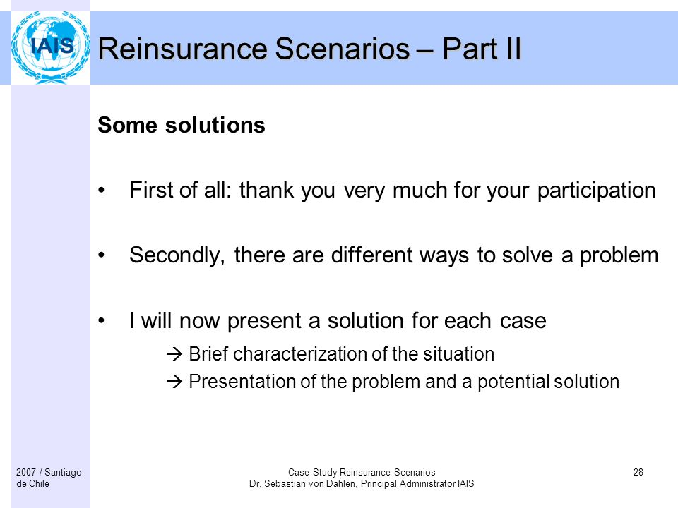 Reinsurance Scenarios – Part II