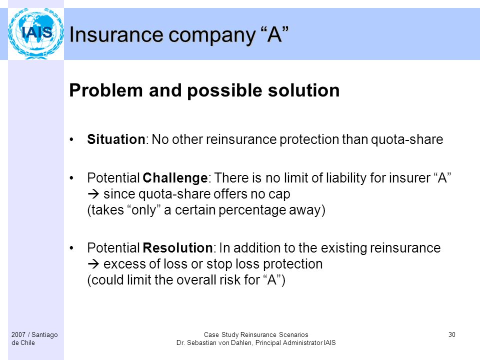 Insurance company A Problem and possible solution