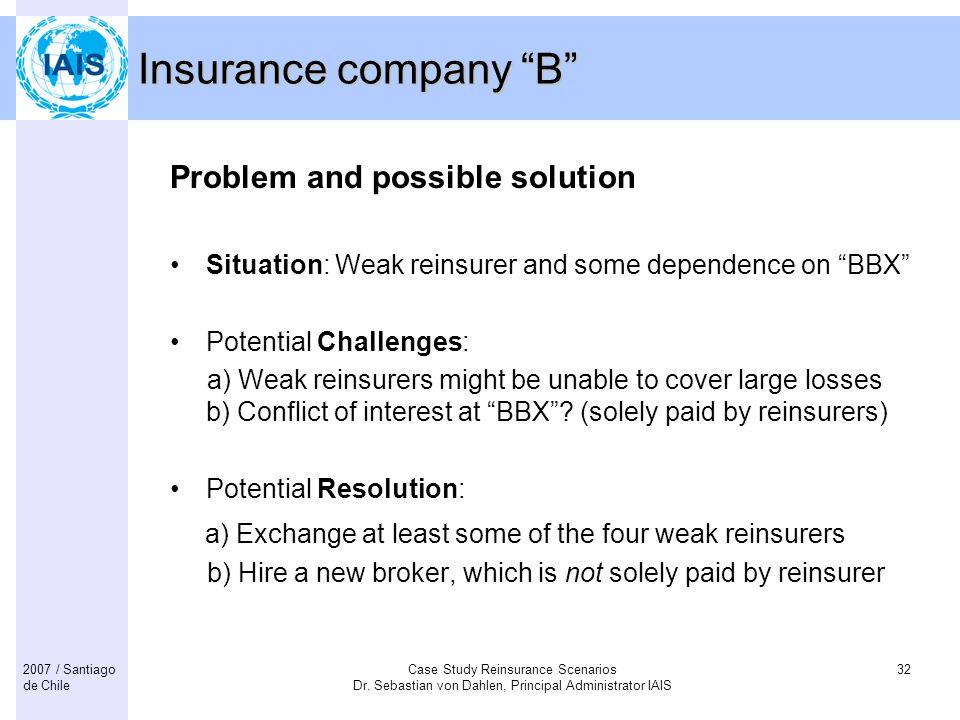 Insurance company B Problem and possible solution