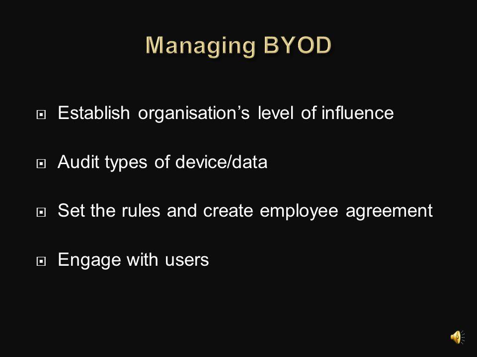 Managing BYOD Establish organisation's level of influence