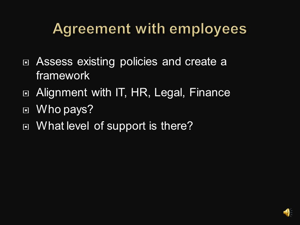 Agreement with employees