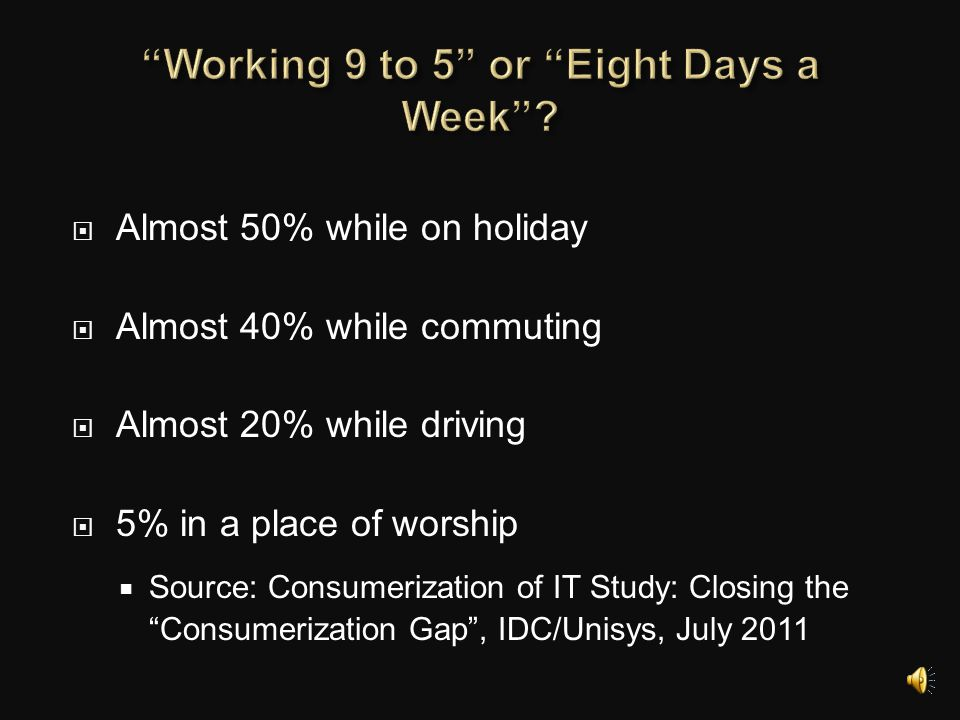 Working 9 to 5 or Eight Days a Week