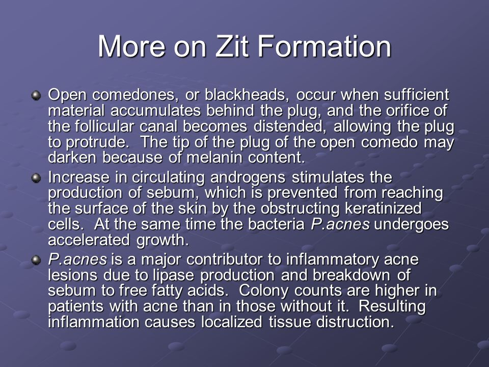 More on Zit Formation