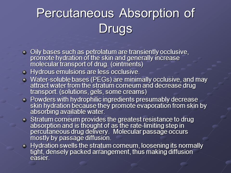 Percutaneous Absorption of Drugs