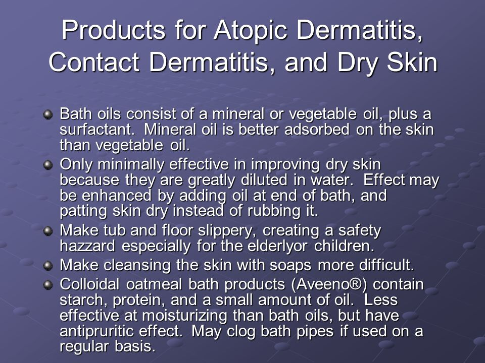 Products for Atopic Dermatitis, Contact Dermatitis, and Dry Skin