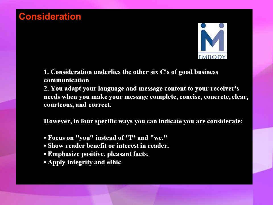 Consideration 1.