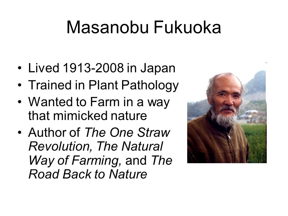 Masanobu Fukuoka Lived 1913-2008 in Japan Trained in Plant Pathology