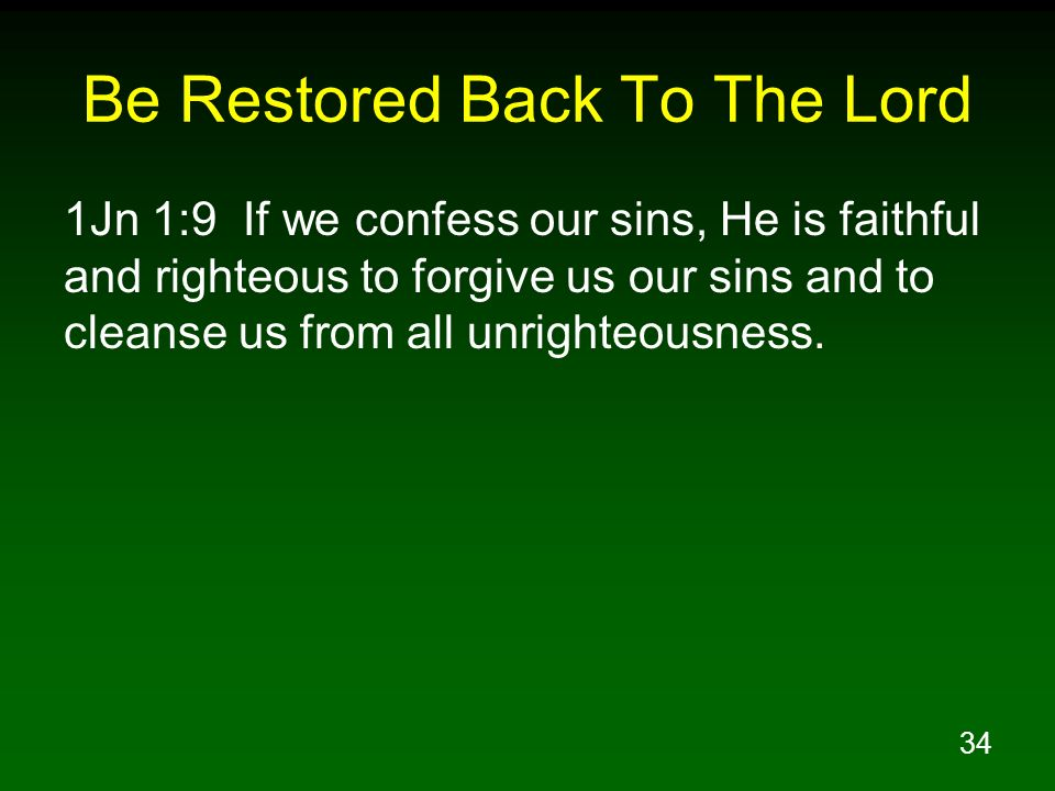 Be Restored Back To The Lord