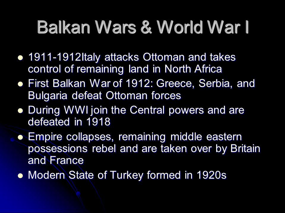 Balkan Wars & World War I