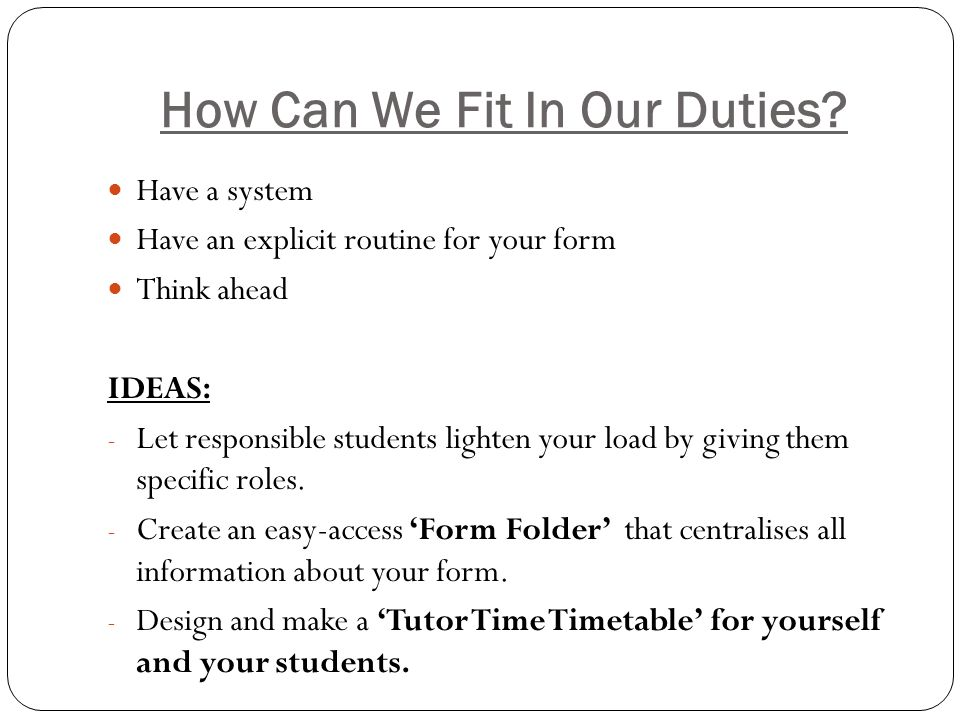 How Can We Fit In Our Duties