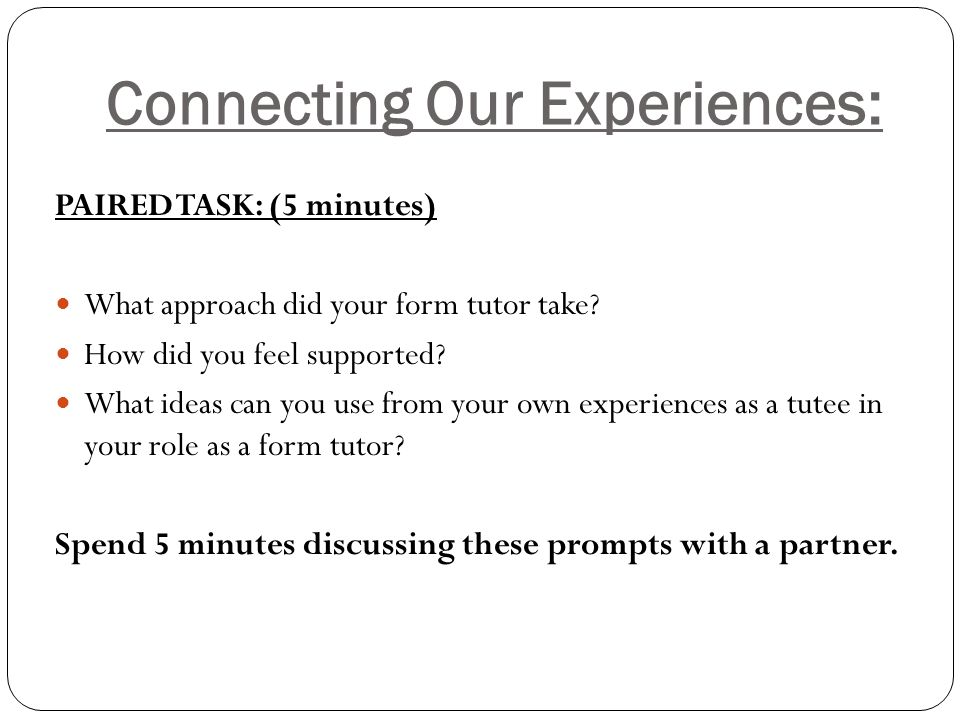 Connecting Our Experiences: