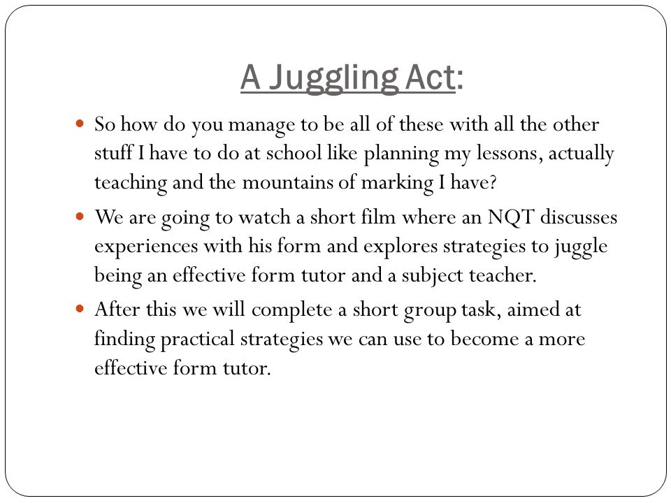 A Juggling Act: