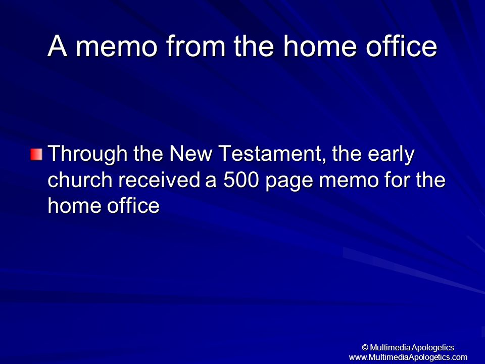 A memo from the home office