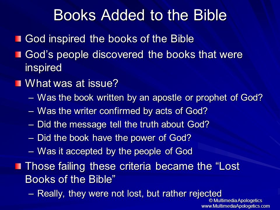 Books Added to the Bible