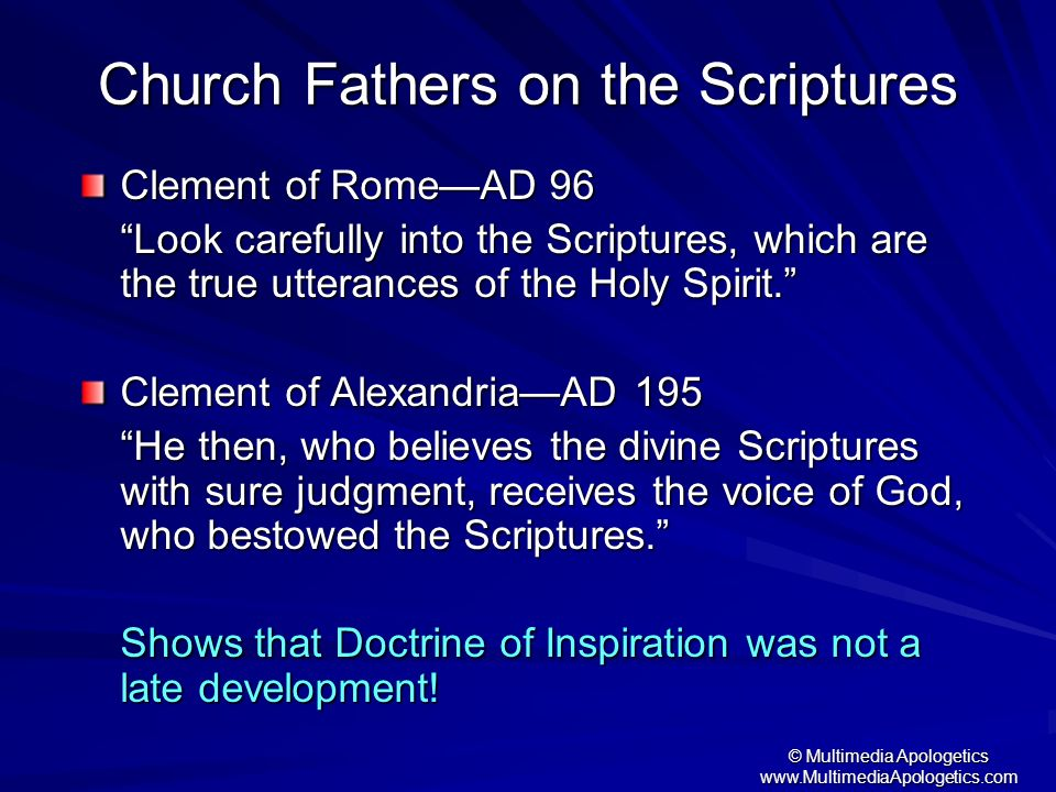 Church Fathers on the Scriptures