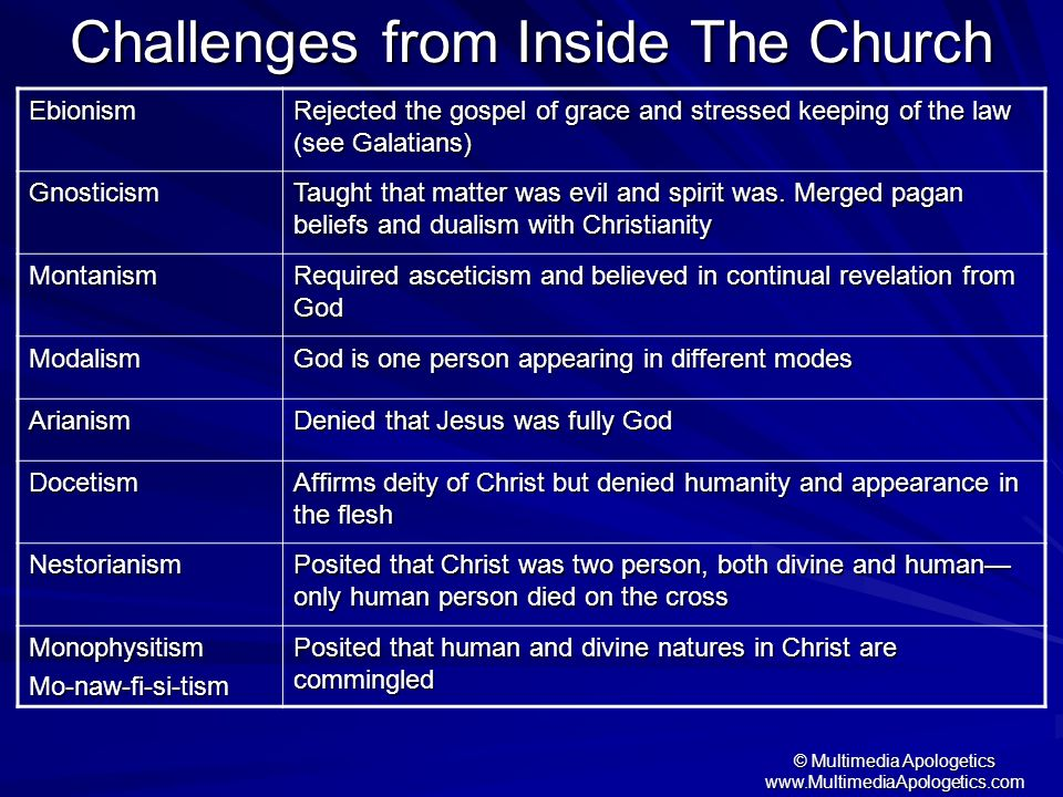 Challenges from Inside The Church